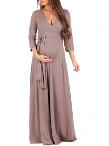 Beige Cross Sashes Draped Photoshoot Baby Shower 3/4 Sleeve V-neck Comfy Casual Maxi Maternity Dress