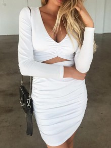 White Cut Out Deep V-neck Ruched Bandage Bodycon Elegant Party Mini Dress