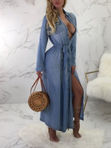 Blue Denim Pockets Sashes Single Breasted Slit Long Sleeve Casual Maxi Dress
