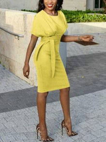 Yellow Sashes Cap Sleeve High Waisted Plus Size Bodycon Office Worker/Daily Midi Dress