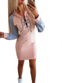 Pink Patchwork Drawstring Hooded Fashion Mini Dress