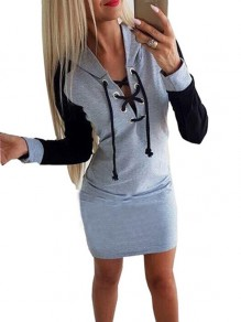 Grey Patchwork Drawstring Hooded Fashion Mini Dress
