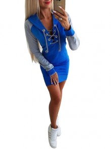 Blue Patchwork Drawstring Hooded Fashion Mini Dress