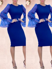 Sapphire Blue Patchwork Pearl Grenadine Bodycon Long Flare Sleeve Elegant Prom Midi Dress