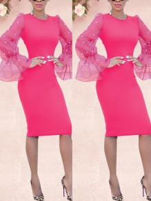Rose Carmine Patchwork Pearl Grenadine Bodycon Long Flare Sleeve Elegant Prom Midi Dress