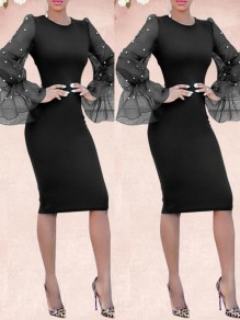 Black Patchwork Pearl Grenadine Bodycon Long Flare Sleeve Elegant Prom Midi Dress