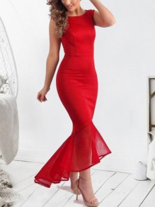 Red Patchwork Grenadine Irregular Swallowtail Cocktail Party Maxi Dress