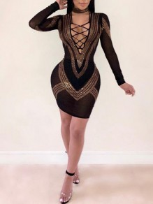 Black Patchwork Sequin Lace-up Cut Out Bodycon Long Sleeve Clubwear Party Mini Dress