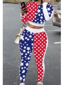 Red Patchwork Star Polka Dot Pattern Two Piece Casual Long Jumpsuit