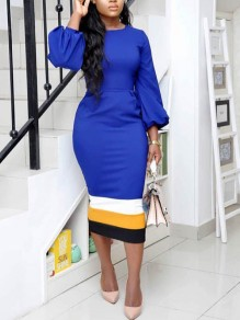 Blue Striped Puff Sleeve Round Neck Bodycon Elegant Party Maxi Dress