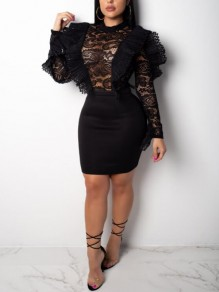 Black Patchwork Lace Ruffle High Waisted Bodycon Sheer Long Sleeve Elegant Mini Dress