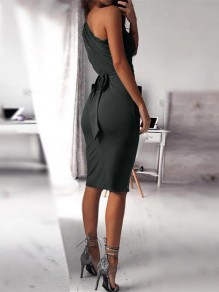 Black Belt Collarless Sleeveless Fashion Midi Dress