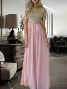 Pink Patchwork Sequin Round Neck Short Sleeve Party Maxi Dress