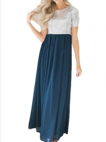 Blue Patchwork Sequin Round Neck Short Sleeve Party Maxi Dress