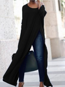 Black Asymmetric Shoulder Irregular Slit Casual Maxi Dress