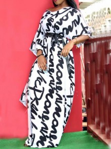 White Letter Pattern One Shoulder Irregular Sashes 3/4 Sleeve Casual Maxi Dress