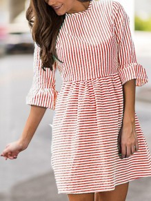 Red Striped Pleated Puff Sleeve Tutu Cute Homecoming Party Mini Dress