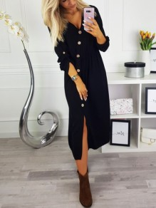 Black Buttons Long Sleeve Sweet Going out Maxi Dress
