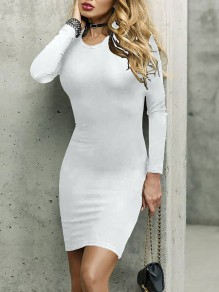 White Long Sleeve Round Neck Party Going out Mini Dress