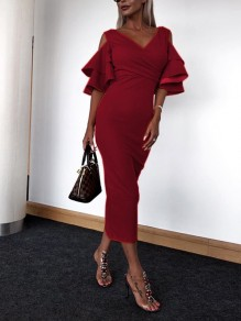 Dark Red Ruffle Elbow Sleeve V-neck Going out Party Maxi Dress