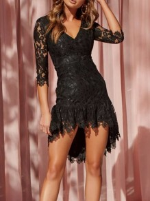 Black Lace Irregular Swallowtail Draped Plunging Neckline Elbow Sleeve Elegant Mini Dress