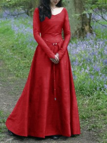 Red Draped Rivet Zipper Sashes V-neck Long Sleeve Elegant Maxi Dress