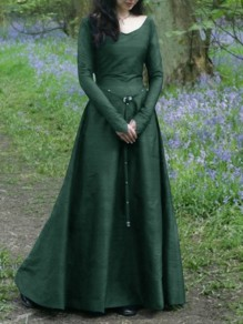 Green Draped Rivet Zipper Sashes V-neck Long Sleeve Elegant Maxi Dress
