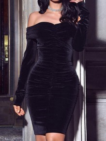 Black Off Shoulder Ruched Bandeau Bodycon Long Sleeve Elegant Mini Dress