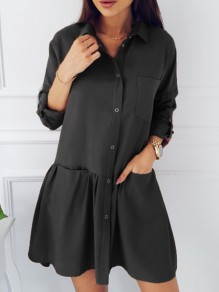 Black Single Breasted Pockets Ruffle Turndown Collar Cute Casual Mini Dress