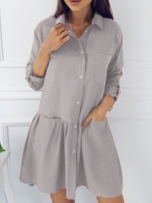Grey Single Breasted Pockets Ruffle Turndown Collar Cute Casual Mini Dress