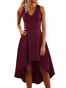 Red Draped Swallowtail Condole Belt V-neck Sleeveless Elegant Midi Dress
