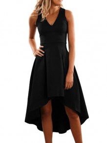 Black Draped Swallowtail Condole Belt V-neck Sleeveless Elegant Midi Dress
