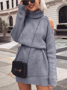 Grey Cut Out High Neck Long Sleeve Fashion Mini Dress