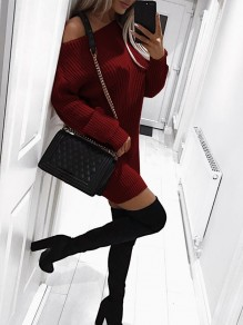 Wine Red One Shoulder Long Sleeve Fashion Sweater Mini Dress