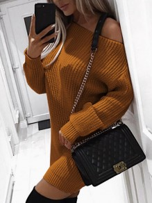 Brown Round Neck Long Sleeve Fashion Mini Dress