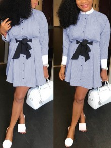 Light Blue Striped Belt Bow Pleated Single Breasted Long Sleeve Homecoming Party Mini Dress
