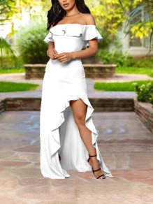 White Ruffle Off Shoulder Irregular High-Low Bodycon Elegant Prom Party Maxi Dress