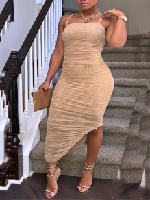 Khaki Spaghetti Strap Irregular Bodycon Backless Party Clubwear Maxi Dress