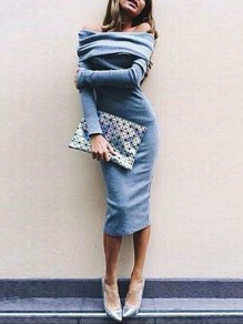 Blue Off Shoulder Bandeau Long Sleeve Bodycon Elegant Maxi Dress