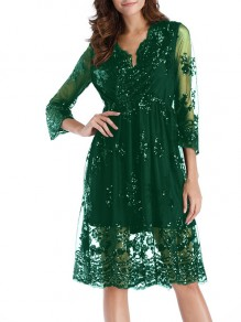 Dark Green Patchwork Floral Embroidery Grenadine Sequin Double-deck Long Sleeve Sheer Homecoming Party Elegant Midi Dress