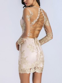 Golden Embroidery Lace Grenadine Bright Wire Sheer Bodycon Backless Deep V-neck Clubwear Elegant Mini Dress