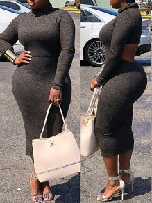 Black Cut Out Irregular Bodycon Backless Long Sleeve Band Collar Casual Office Worker Maxi Dress