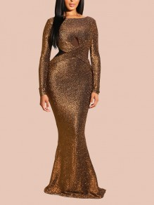 Golden Cross Bright Wire Draped Backless Bodycon Mermaid Long Sleeve Elegant Formal Maxi Dress