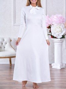 White Bow Draped Long Sleeve Elegant Church Party Maxi Dress