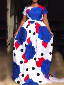 White Floral Print Pockets Pleated High Waisted Big Swing Long Sleeve Elegant Party Maxi Dress