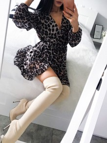 Black Leopard Long Sleeve V-neck Casual Going out Sweet Mini Dress