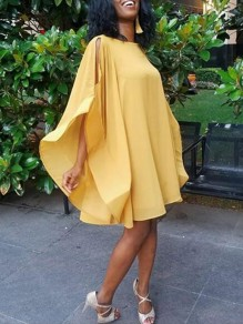 Yellow Irregular Ruffle Draped Extreme Flare Sleeve Flowy Bohemian Midi Dress