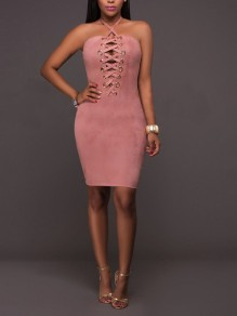 Pink Cross Cut Out Lace-up Bodycon Pleuche Spaghetti Strap Backless Elegant Clubwear Party Midi Dress