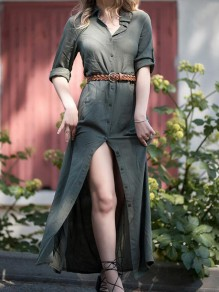 Army Green Single Breasted Slit Turndown Collar Prairie Turndown Collar Vintage Maxi Dress