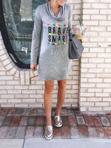 "Grey ""BRAVE AND SMART"" Print Drawstring Cowl Neck Casual Mini Dress"